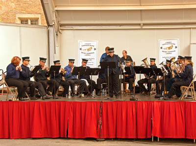 Newberry's Victorian Cornet Band performs in downtown Northfield  (Photo courtesy of David Perez)